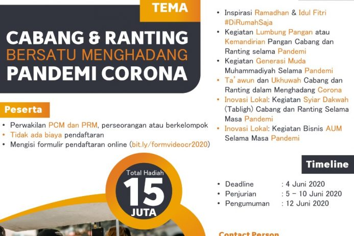 Kreativitas Warga Muhammadiyah melalui Lomba Video Cabang dan Ranting Bersatu Menghadang Pandemi Corona