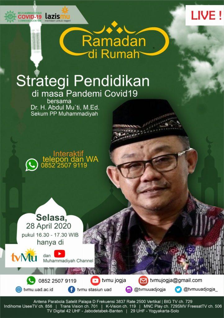 (VIDEO) #RamadanDiRumah   Strategi Pendidikan di Masa Pandemi Covid-19   Abdul Mu'ti