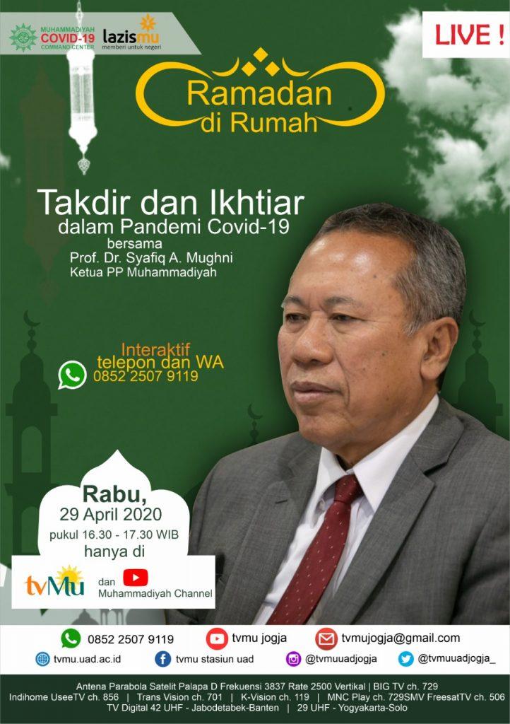 (VIDEO) #RamadandiRumah   Takdir dan Ikhtiar dalam Pandemi Covid-19   Syafiq A. Mughni