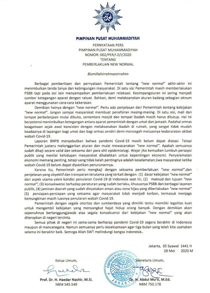Pernyataan Pers PP Muhammadiyah Tentang Pemberlakuan New Normal