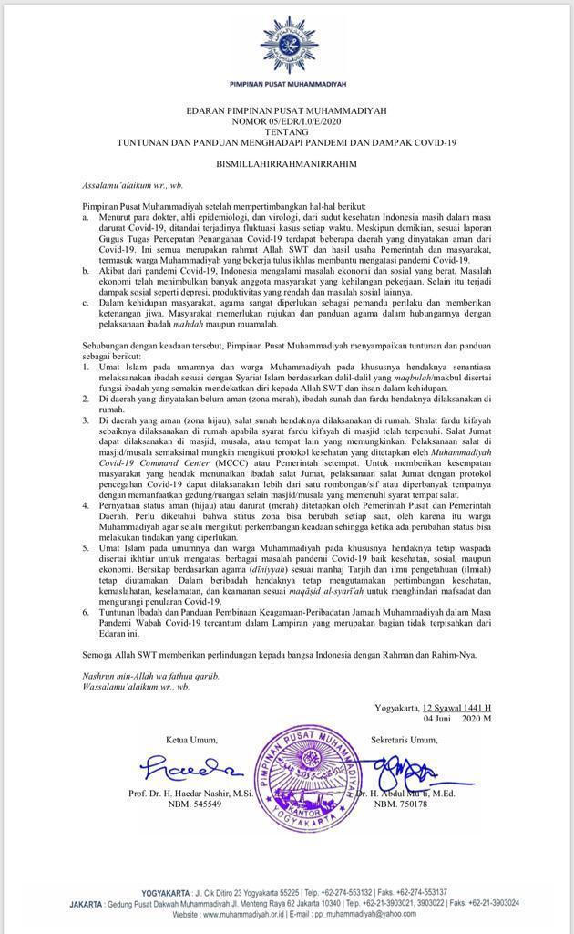 Edaran PP Muhammadiyah Tentang Tuntunan dan Panduan Menghadapi Pandemi dan Dampak Covid-19