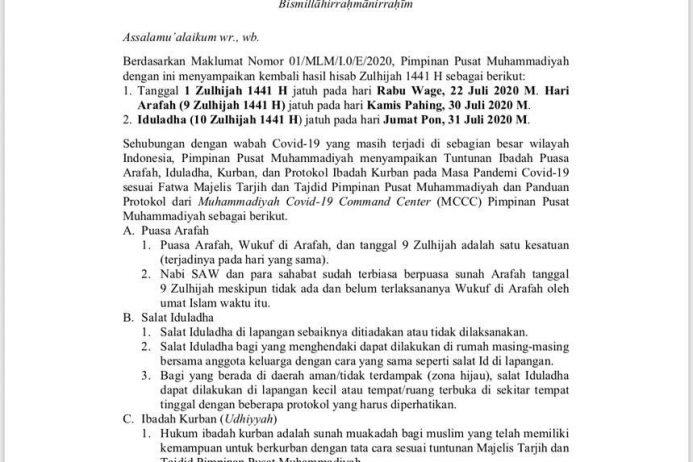 Edaran PP Muhammadiyah Tentang Tuntunan Ibadah Puasa Arafah, Iduladha, Kurban dan Protokol Ibadah Kurban pada Masa Pandemi Covid-19