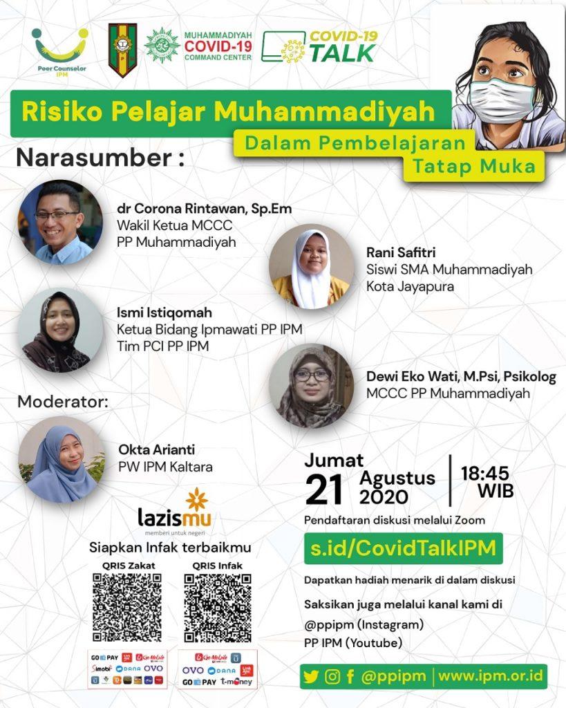 (VIDEO) Covid-19 Talk PP IPM feat LAZISMU & MCCC Part 10 – Risiko Pelajar Muhammadiyah dalam Pembelajaran Tatap Muka