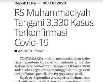 RS Muhammadiyah Tangani 3.330 Kasus Terkonfirmasi Covid-19