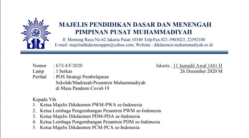 POS Strategi Pembelajaran Sekolah/Madrasah/Pesantren Muhammadiyah di Masa Pandemi Covid-19