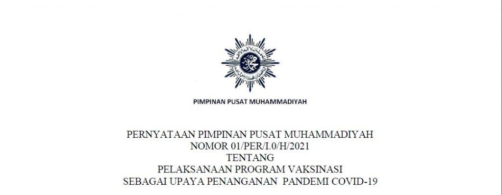 Pernyataan PP Muhammadiyah tentang Pelaksanaan Program Vaksinasi