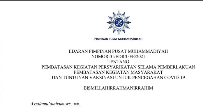 Edaran PP Muhammadiyah tentang PPKM dan Vaksinasi