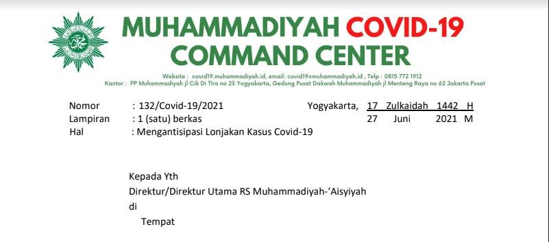 Surat MCCC terkait Mengantisipasi Lonjakan Kasus Covid-19