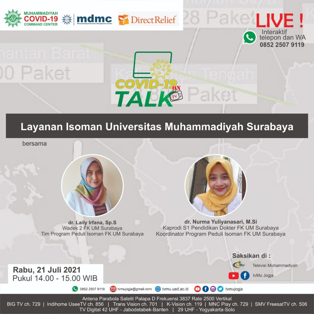 (VIDEO) Covid-19 Talk : Layanan Isoman Universitas Muhammadiyah Surabaya