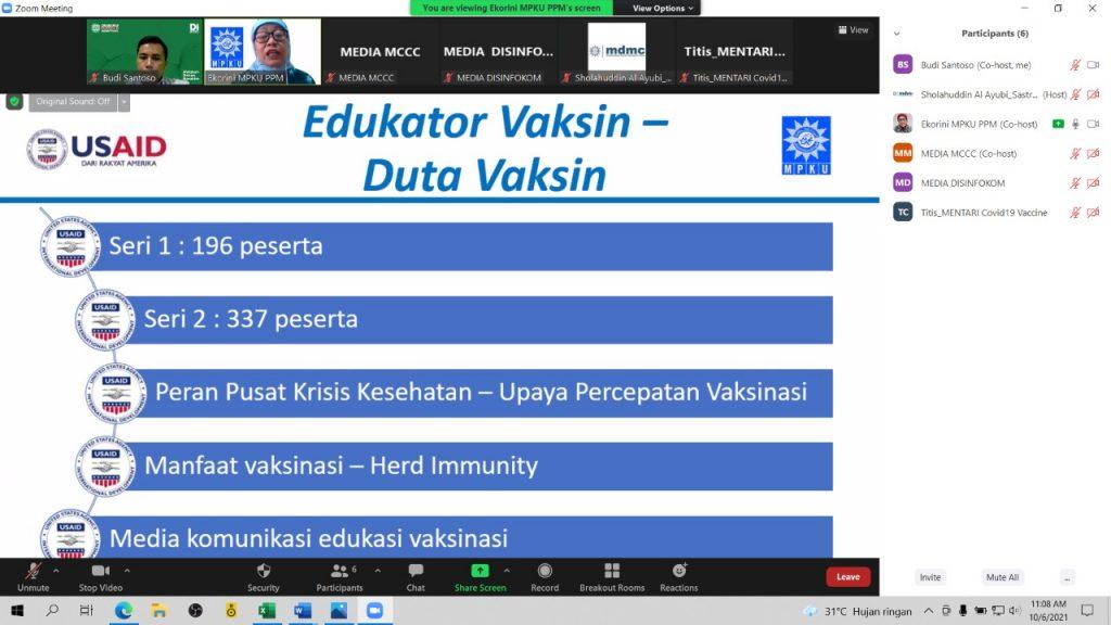 Siapkan Duta Vaksinasi, Mentari Covid-19 Vaccine MPKU PP Muhammadiyah Adakan Pelatihan Edukator Vaksin